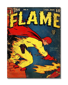 The Flame - Vintage Superhero Comic Book Cover Metal Wall Sign