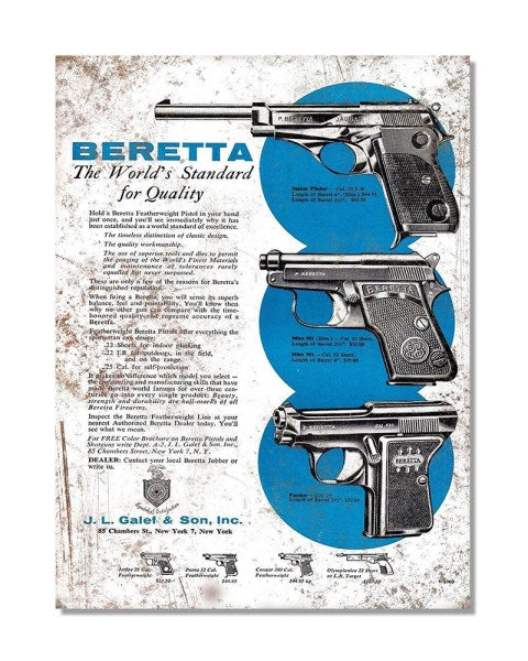 Beretta The Worlds Standard For Quality -  Vintage Firearms Wall Sign
