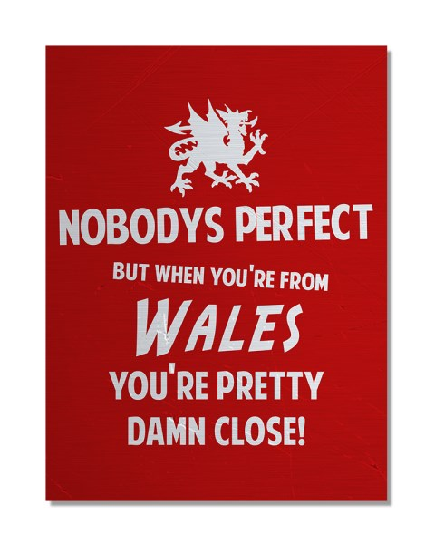 Nobody's Perfect - WALES - Funny Regional Pride Metal Wall Sign
