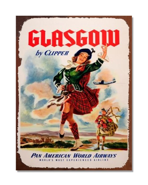 Glasgow By Clipper Pan American World Airways - Vintage Metal Wall Sign