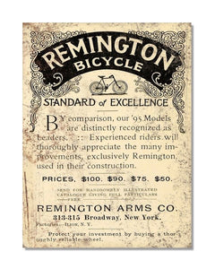 Remington Bicycle Standard Of Excellence - Metal Bicycle Wall Sign