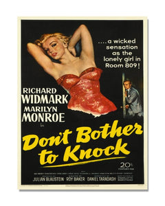 Don't Bother To Knock - Marilyn Monroe - Vintage Movie Poster Metal Wall Sign