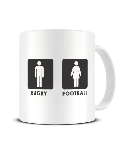 Rugby Football - Men's And Women's Toilet Symbols - Funny Ceramic Mug
