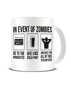 In Event Of Zombies - Apocalypse Plan - Shaun Of The Dead Inspired Ceramic Mug