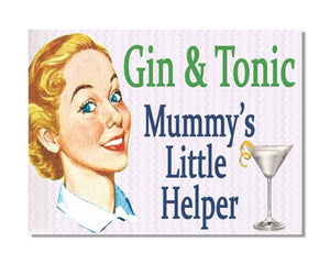 Gin And Tonic Mummy's Little Helper - Vintage Bar-Kitchen Wall Sign