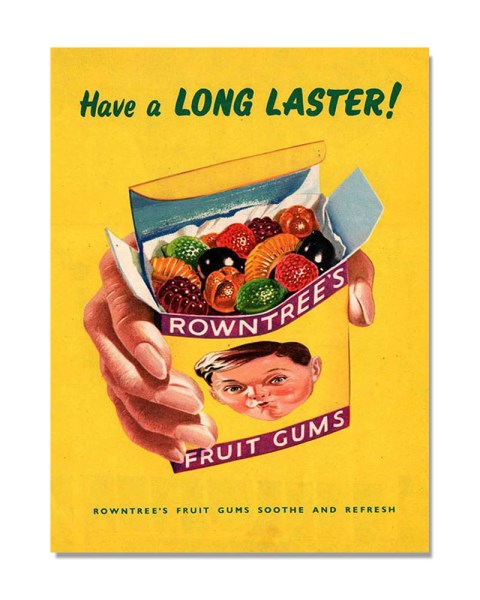 Have A Long Taster - Rowntree's Fruit Gums- Vintage Kitchen Wall Sign