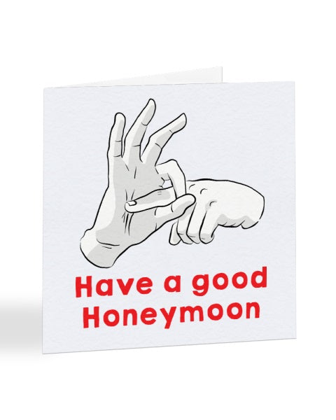 Have A Good Sexual Hand Gesture Honeymoon Wedding Greetings Card
