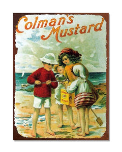 Colman's Mustard Beach - Vintage Advertising Poster Kitchen Metal Sign