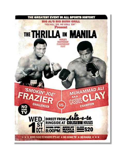 The Thrilla in Mianila - Joe Frazier Vs Muhammad - Vintage Boxing Metal Sign