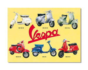Vespa Scooter Retro Collage - Vintage Automotive Metal Garage Wall Sign