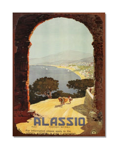 Alassio - 1929 -  Vintage Holiday Advertisement Metal Wall Sign