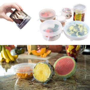 Reusable Silicone Stretch Lids 6 pcs