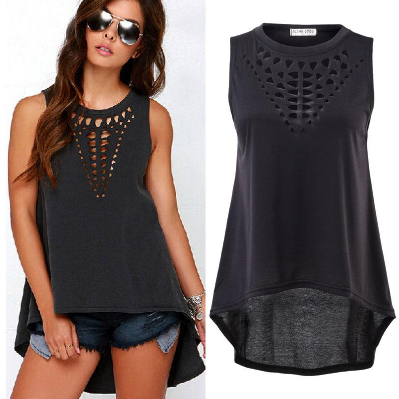 Womens Sexy Casual Hollow Sleeveless Loose Summer Top