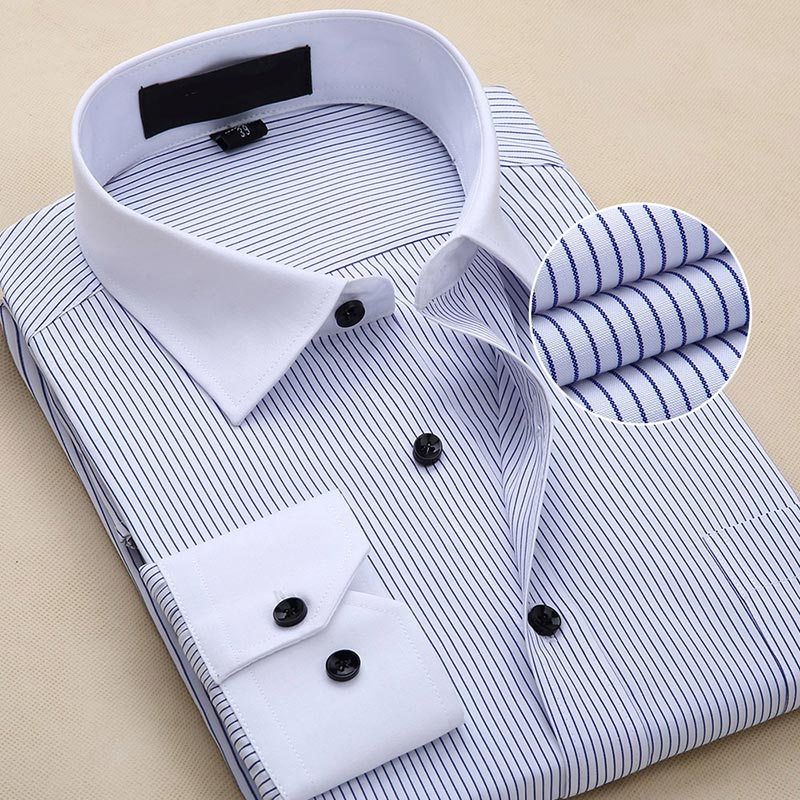 Mens Printed Long-Sleeved Slim Shirt