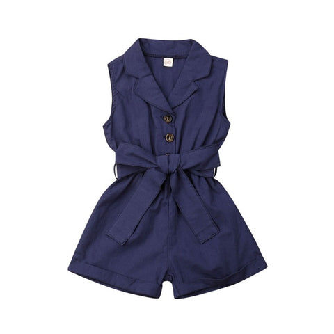 Baby Girl Kids One-Piece Solid Colour Jumpsuit