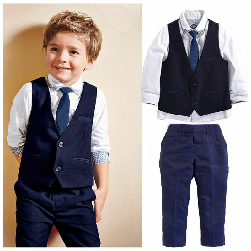 Fashion children baby boy suit gentleman long sleeve shirt + tie vest + trousers 3Pcs formal children's clothes - Hypa Fashion