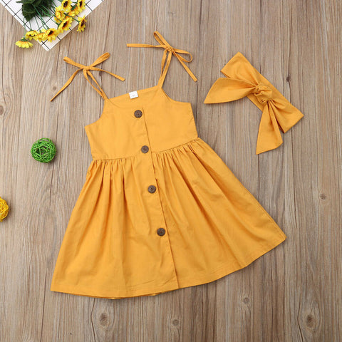 Baby Girl Summer Princess Strap Dress + Headband Set