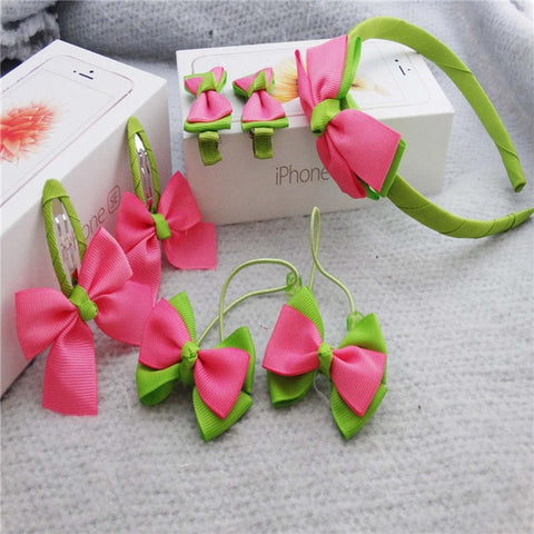 7pcs Girl Kids Bow Headband Hairpins & Accessories