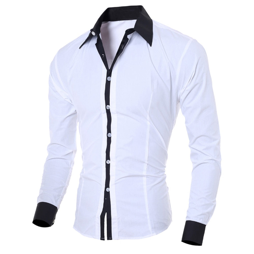 Male Social Shirt Fashion Personality Men's Casual Slim Long-sleeved Shirt Top Blouse Men Shirt Long Sleeve Shirt Men Casual - Hypa Fashion