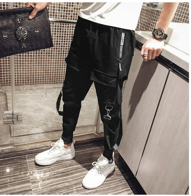 Mens Streetwear Black Punk Casual Slim Pants