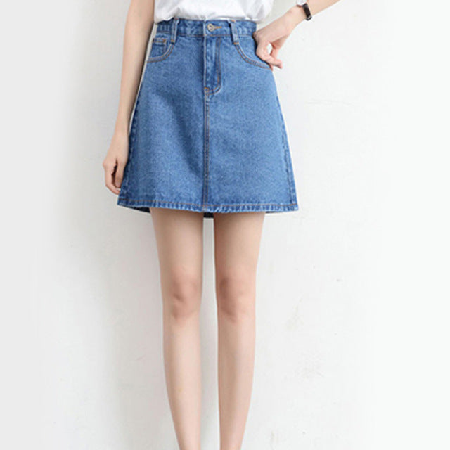 Womens High Waist Denim Mini Skirt