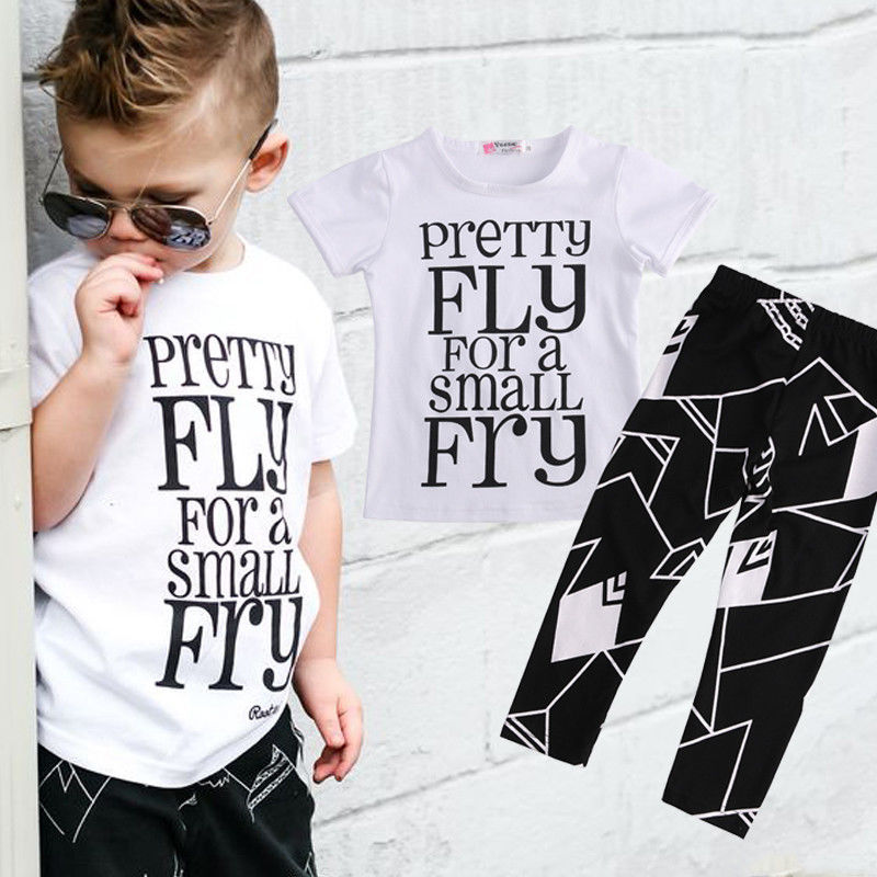 Boys 2 Pcs Set T-Shirt + Pants Summer Casual Outfit