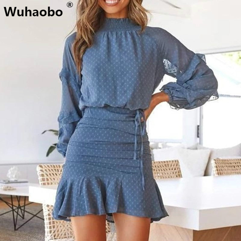 2 Pcs Womens Turtleneck Boho Butterfly Sleeve Loose Shirt Dress