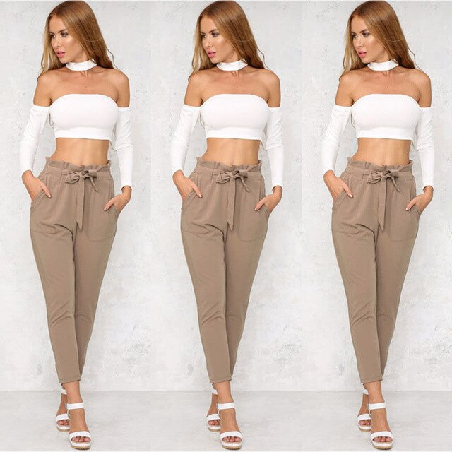 Womens High Elastic Waist Pants With Belt