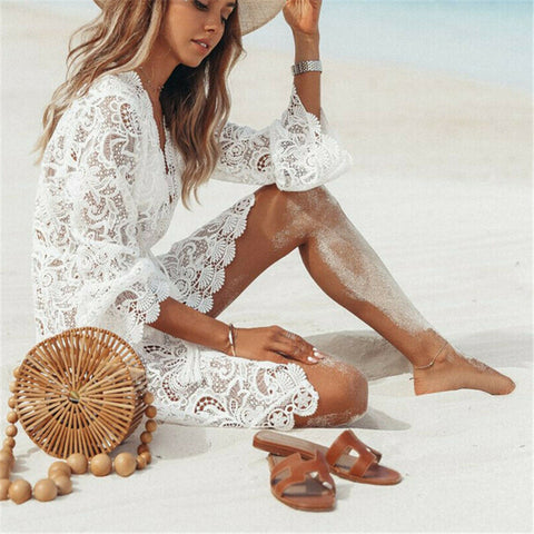 Womens Lace Crochet Cover-Up Beachwear Tunic Dress
