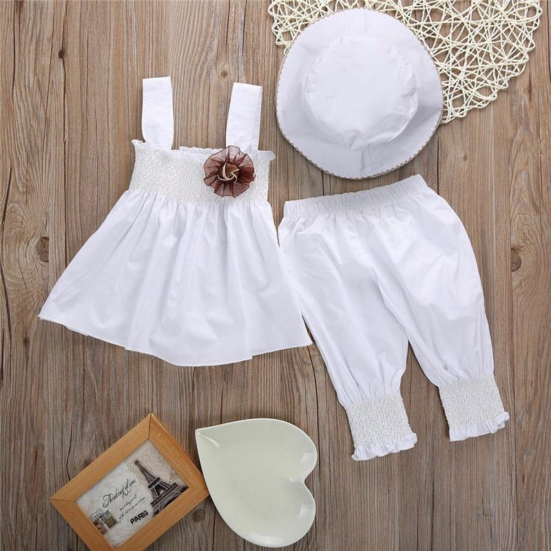 Cute Baby Girl Princess Dress+Pants+Hat 3Pcs Set 0-24M - Hypa Fashion