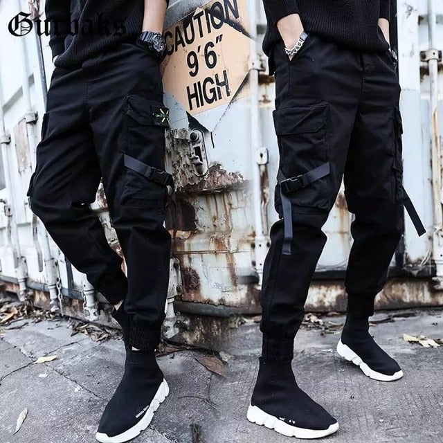 Mens Casual Cotton Elastic Long Cargo Pants