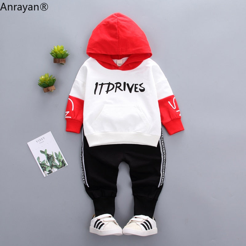 2Pcs Kids Baby Boy Sports Hooded Sweater + Trackpants