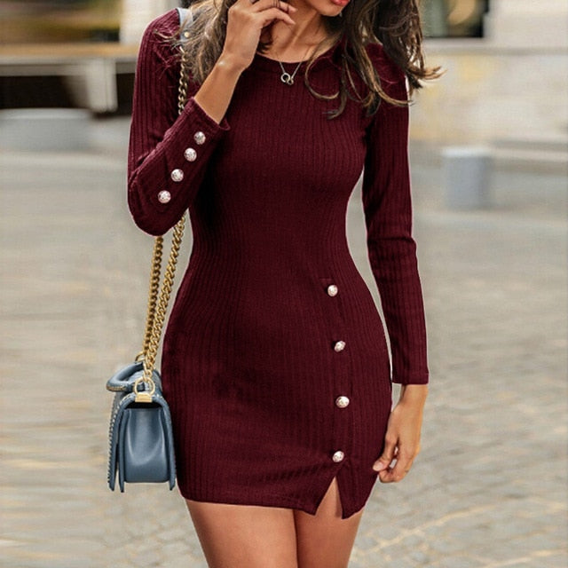Womens Long Sleeve Sexy Bodycon With Button Slit Dress