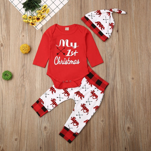 Kids Baby Girl/Boy 'My First Christmas' Romper Pant + Hat Set
