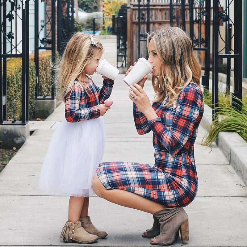 Mother Daughter Womens Kids Long Sleeve Plaid Matching Dress