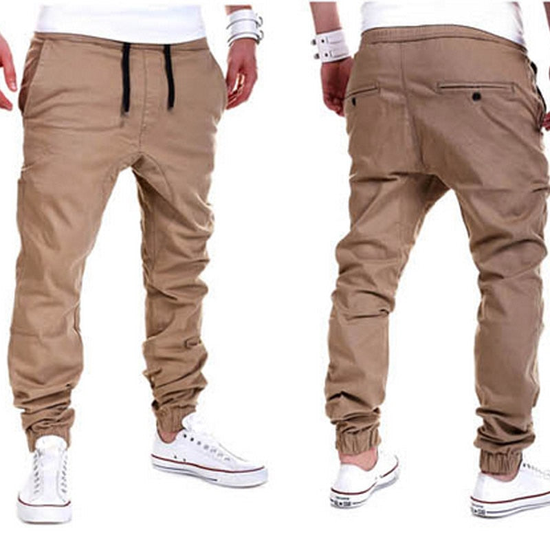 Mens Solid Color Elastic Crossover Casual Pants