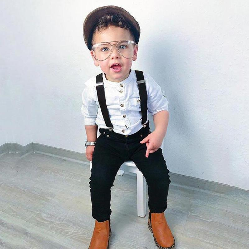 Kid Boys Long Sleeve Shirt + Suspender + Trousers 3Pcs Suit Set
