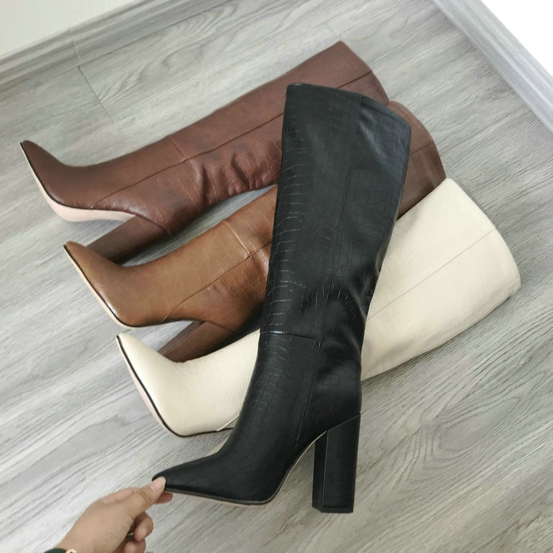 Womens Faux Knee High Leather Pointed Boots