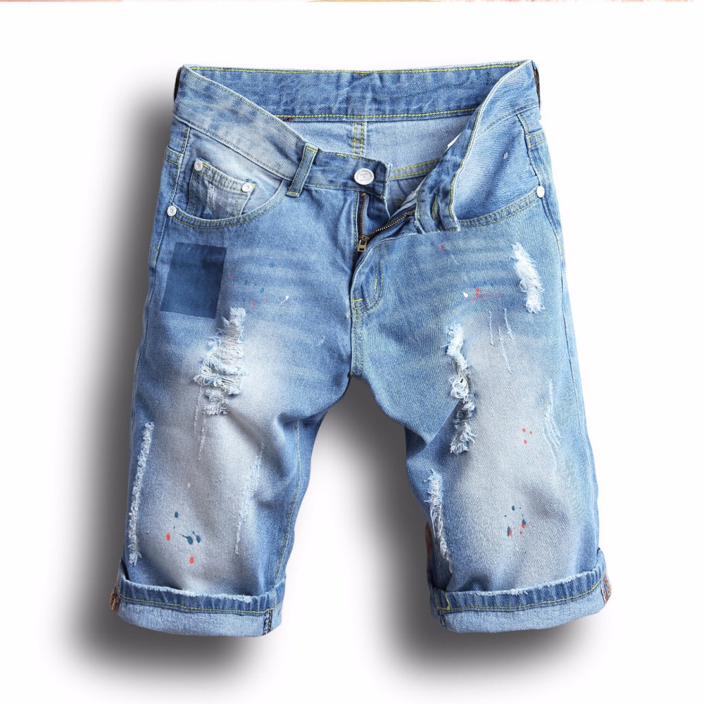 HOT 2019 Fashion Casual inkjet washing Ripped Hole male denim shorts summer locomotive hip hop streetwear jeans hombre - Hypa Fashion