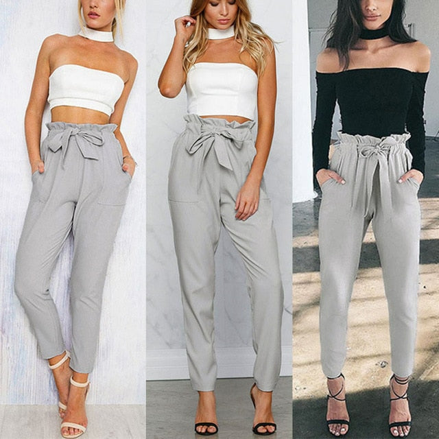 Womens Solid Color High Waist Casual Drawstring Pants