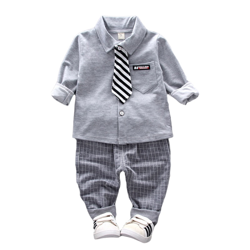 Baby Boys Tie Shirt & Pants Formal Outfit 2Pcs Set - Hypa Fashion