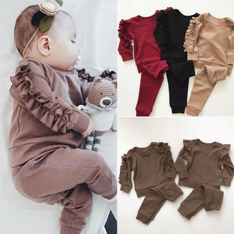 Newborn Infant Baby Girls Ruffle T-Shirt Tops Leggings Pants 2Pcs Outfits Set Clothes Long Sleeve Autumn Winter Warm Clothing - Hypa Fashion