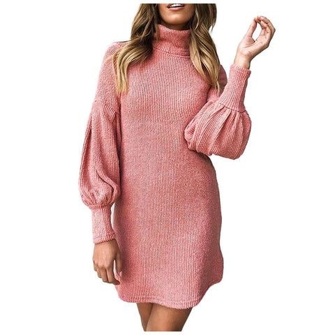 Womens High Neck Slim Knitted Solid Long Sleeve Mini Dress