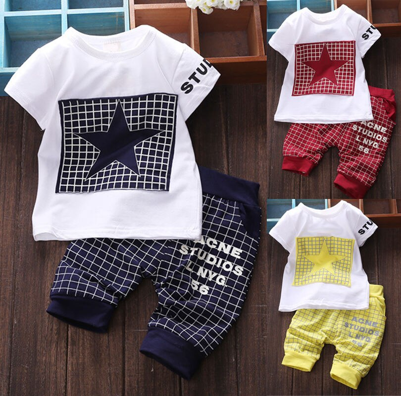 Baby boy clothes 2019 New summer kids clothes sets t-shirt+pants suit clothing set Star Printed Clothes newborn sport suits - Hypa Fashion