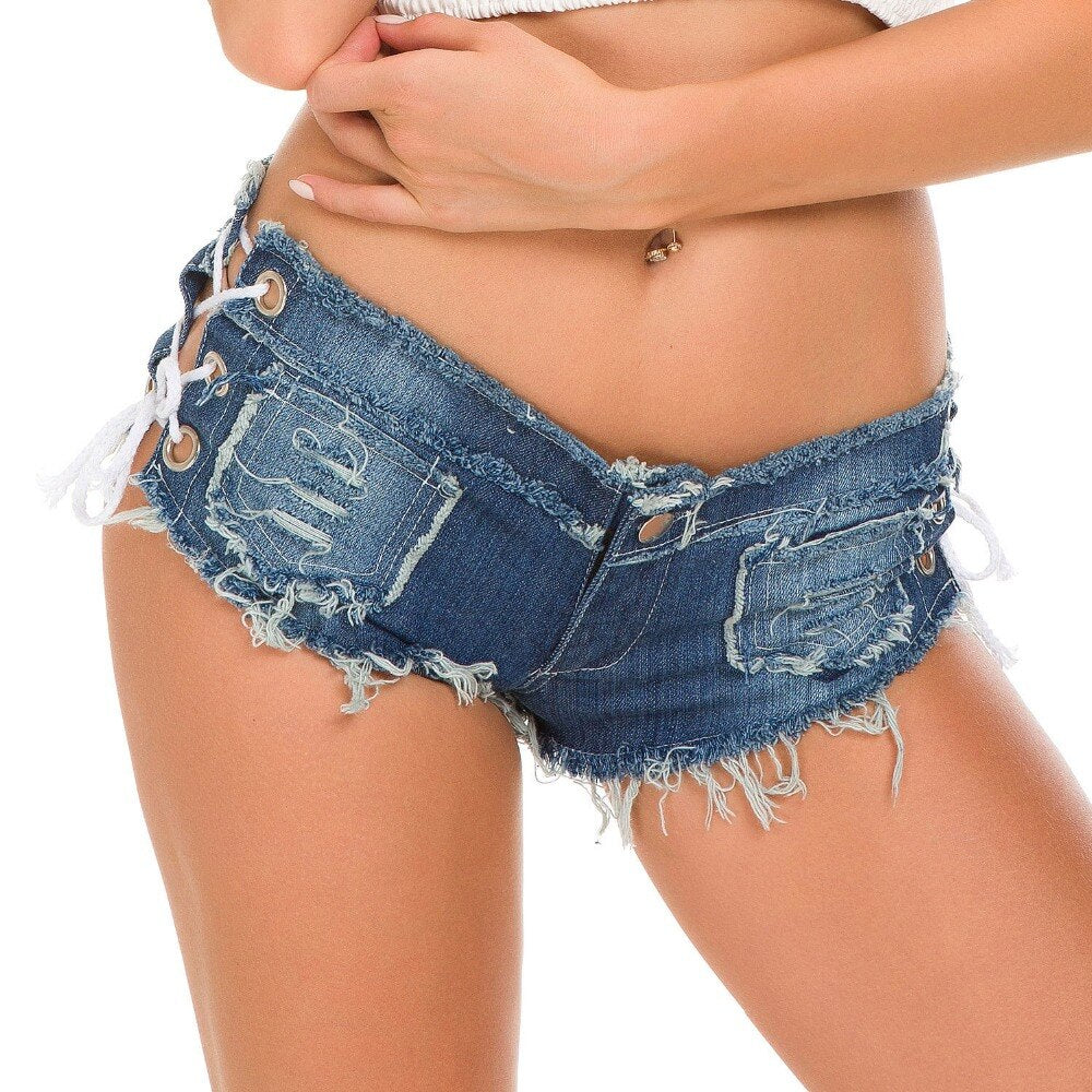 Womens Sexy Denim Cotton Lace-Up Shorts