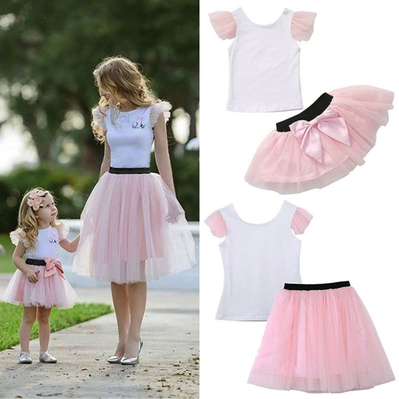 2pcs Mother Daughter Womens Kids Matching Short Sleeve T-shirt & Short Bow Knot Tutu Skirt