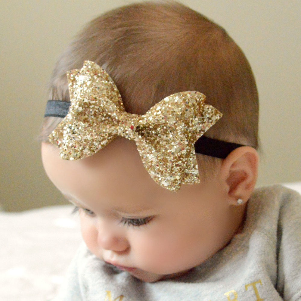 Baby Girl Kids Sparkling Bow Elastic Headband