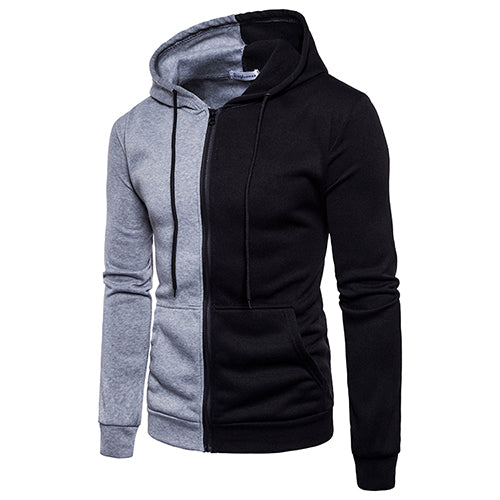 Mens Solid Zipper Fleece Warm Hooded Jacket
