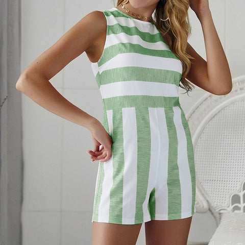 Womens One Piece Strip Sleeveless Tanks Shorts
