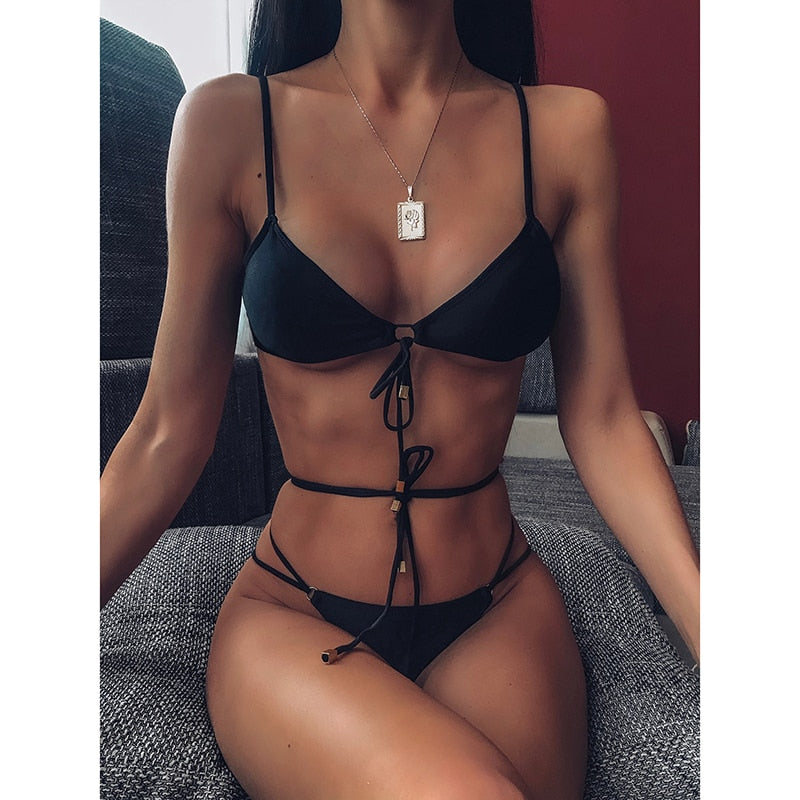 Womens Sexy Summer 2Pcs Set Triangle Push Up Swimsuit